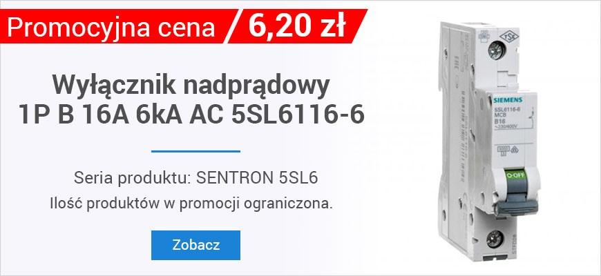 Wyłącznik nadprądowy 1P B 16A 6kA AC 5SL6116-6